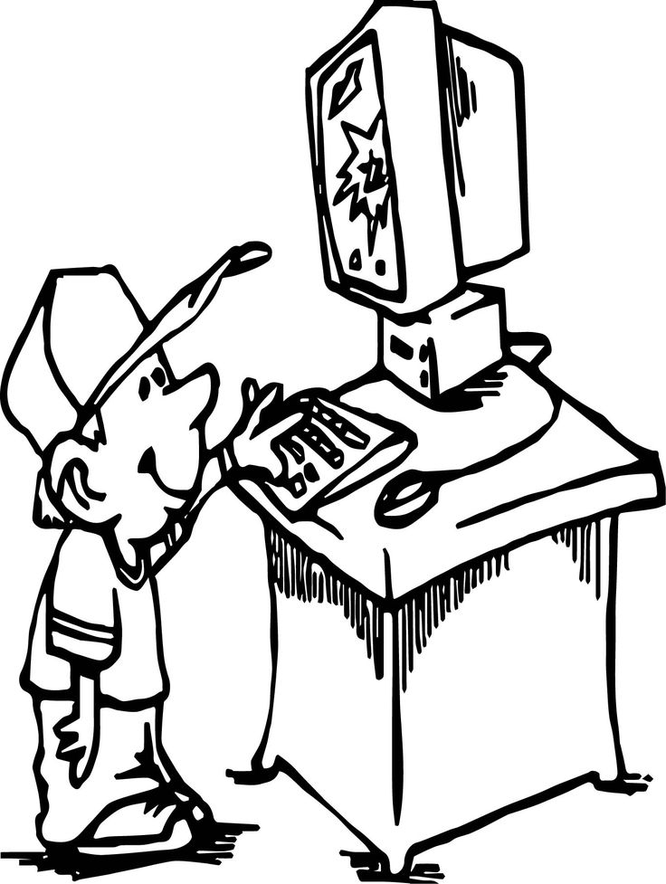 Cool Small Boy Playing Computer Games Coloring Page