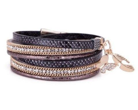 Armband - slangenprint - bruin/zwart - met bedeltjes - strass