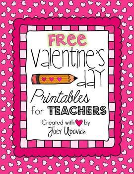 Valentine's Day Printables for Teachers: FREEBIE! 4 ADORABLE Printable Valentine's Day card templates for you to print, cut, sign, and give to your students, a page of coupons, and 3 bookmarks for kiddos to color!  FREE!
