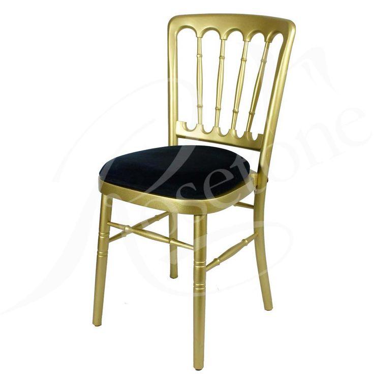 Gold Bentwood with Black Seat Pad. Popular Gold Wedding Chair Cheltenham Style Black Theme