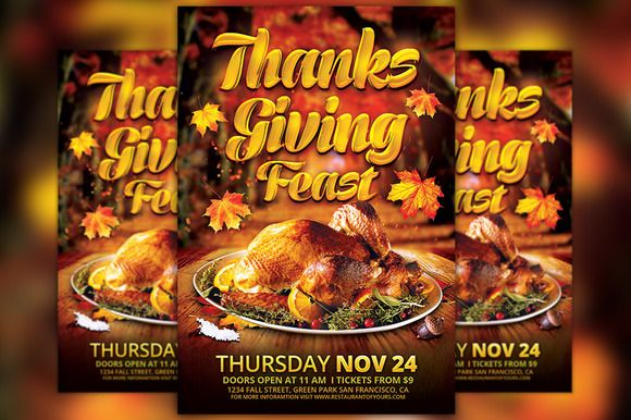 Thanksgiving Feast Flyer Template by Flyermind on @creativemarket