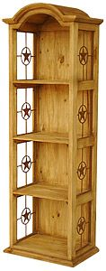 This is the perfect piece of southwestern rustic furniture for that narrow space in your home.  Although this item is less than two feet wide, it will hold an abundance of your favorite books or home decor items.  The four sturdy shelves are topped with a decorative curved top or bonnet and metal stars along the sides.   You will enjoy this affordable bookshelf for a lifetime.