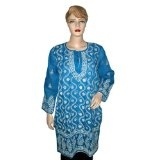 Bollywood Top True Blue Designer Embroidered Cotton Kurti Tunic Dress Large (Apparel)  #Tank Top