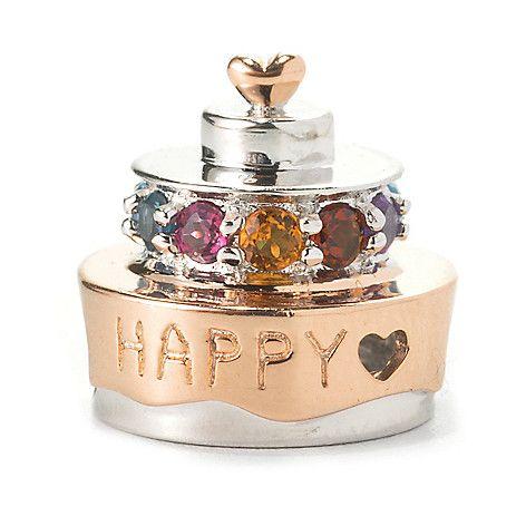 136-037 - Gems en Vogue Multi Gemstone Birthday Cake Slide-on Charm