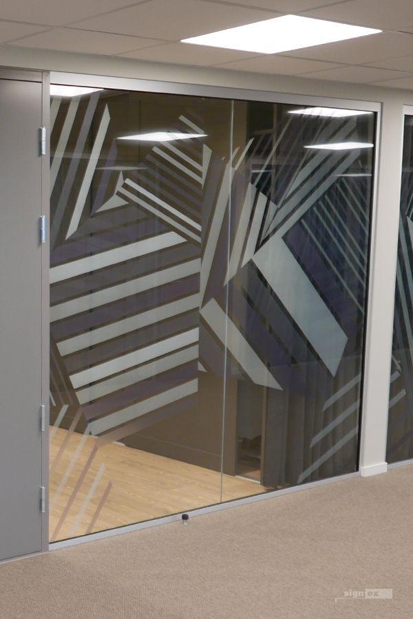Glass film meeting room, stripe pattern