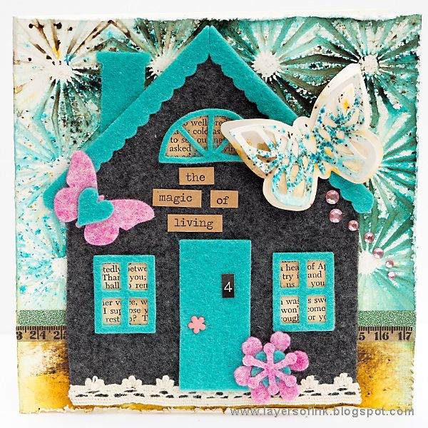 Layers of ink - Felt House Card Tutorial by Anna-Karin with Eileen Hull Sizzix Heartfelt dies. The background was done with PaperArtsy Infusions.