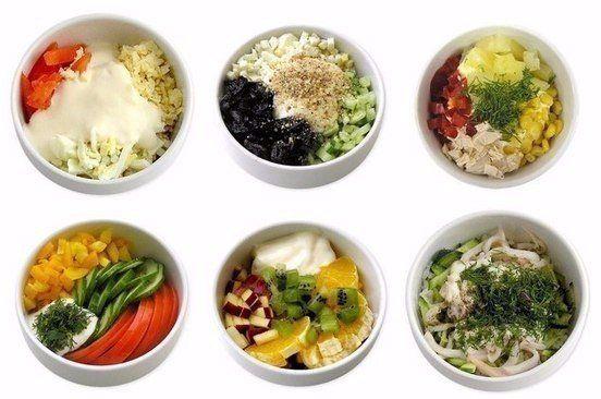 Быстро и вкусно. 6 самых полезных и простых салатов Забирайте на стену, чтобы не потерять.  1. Эдельвейс Приятное сочетание вкусов. Cыр, курица, яйцо, помидор, сметана.  2. Нежность Пикантность этому салату придает сладкий чернослив. Курица, чернослив, яйцо, огурец, грецкий орех, йогурт.  3. Наслаждение Курица, ананас, болгарский перец, яблоко  4. Летний Летний вкус зимой и летом. Огурец, помидор, перец сладкий, сметана, зелень.  5. Фруктовый Салат с экзотическим вкусом. Кусочки апельсина…