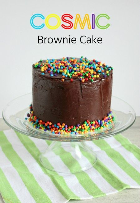 Throwback cake inspired by a childhood favorite – Little Debbie snack Cosmic Brownies.