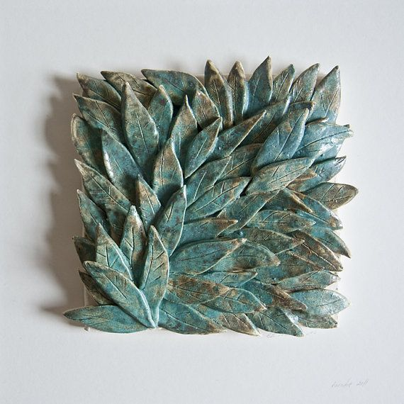 handmade ceramic tile, 62 TEAL LEAVES, framed, sculptural wall hanging karoArt, Ireland @etsy