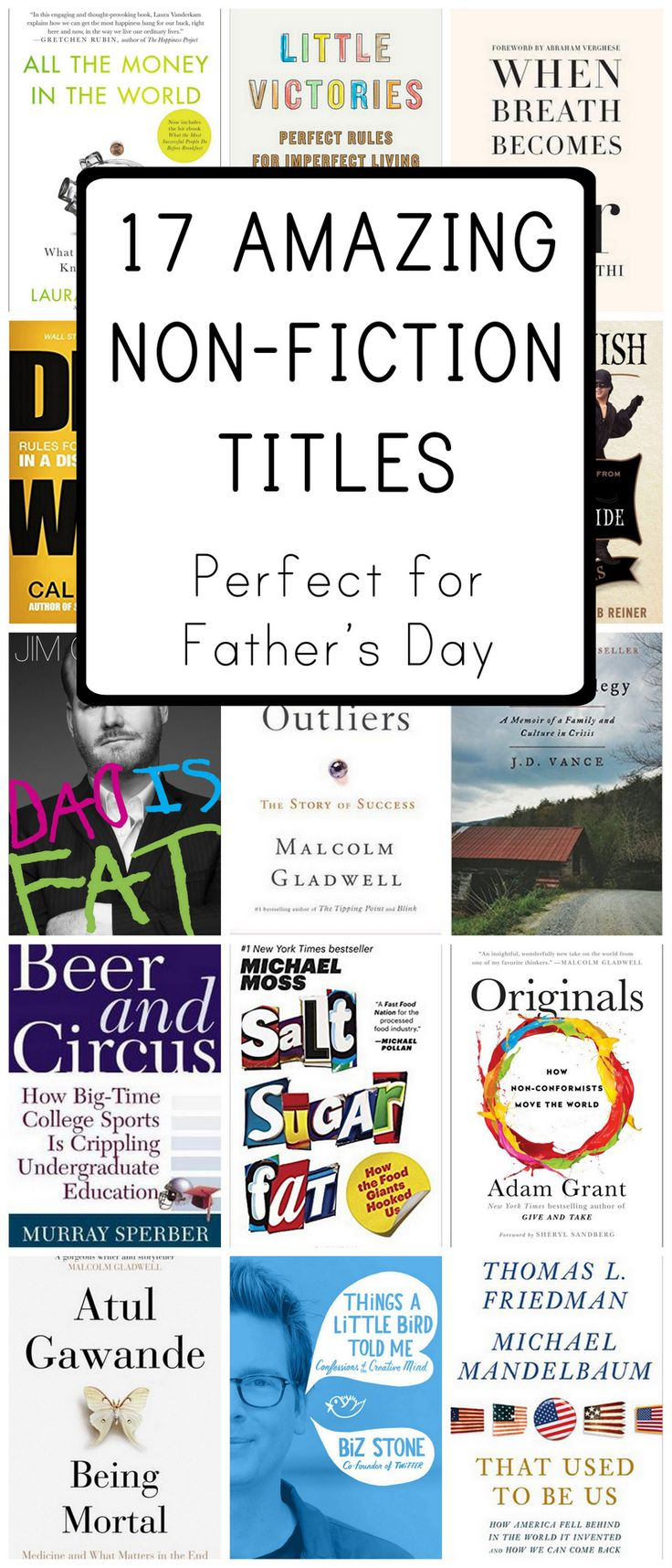 Seventeen great non-fiction books for men that make wonderful gifts for Father's Day on a variety of topics from sports to education to comedy to tech