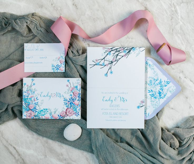 Meadow invitation suite in pastel blues by Lilly Cinnamon Wedding Stationery