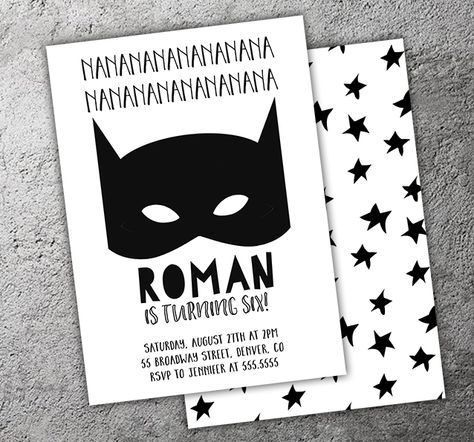 Printable Black and White Batman Inspired Birthday Invitation | Modern Super Hero Mask Party | Boys Superhero Party |  Thank You Card | Cupcake Toppers | Favor Tag | Food Labels | Candy Bar Wrapper | Photo Props | Signs | Banner | DIY Party Package Decor Available!