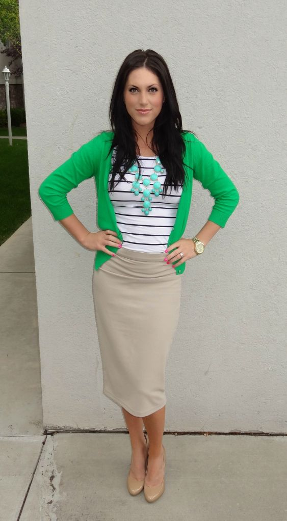 Stripes, pencil skirt, bright cardigan, and a contrasting bubble necklace