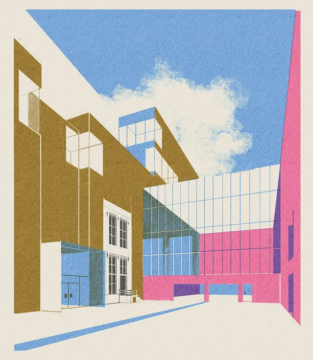 Amsterdam-based illustrator Leonie Bos re-creates forms of 20th century architecture through minimal and modernist prints. With a touch of retrospective styling, the illustrations remain entirely simplistic,