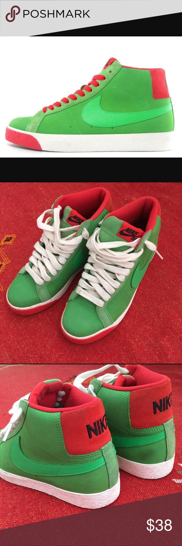 "Nike SB Blazer Hi in ""Green Spark"" Green and red Blazers. Body is green nubuck and suede with snakeskin pattern leather swoosh. Accents in ""pimento."" Very good condition with one blemish on the heel that can probably be removed. Men's 6, so fits a women's 7.5. Nike Shoes Sneakers"