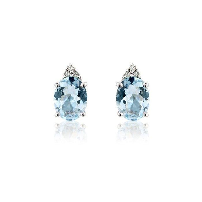 9ct gold March (aquamarine) birthstone rubover stud earrings. Gift box oQQ67gYzk