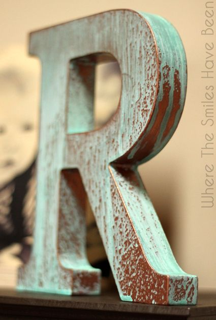 DIY Faux Copper Letter Aged with Blue Patina | Modern Masters Metal Effects | Project by Where The Smiles Have Been