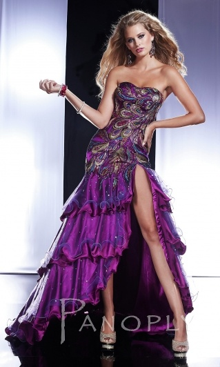 A purple version of my dress..the asymmetrical waistline and sheer tulle topping at the bottom half.lovable.make of chiffon or charmeuse material?want the dress to have a flow to it and not be so stiff
