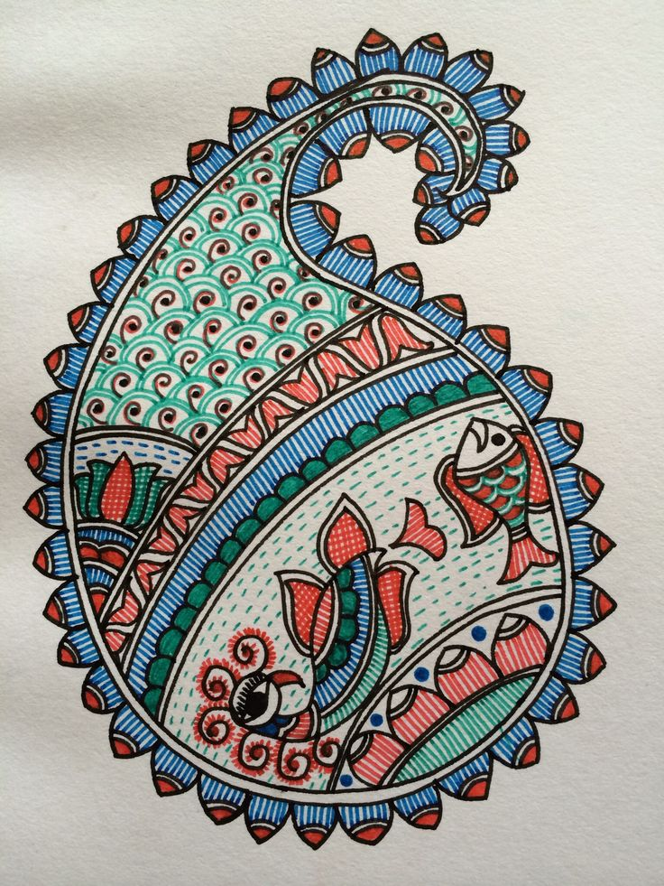 Paisley with peacock and fish in madhubani style
