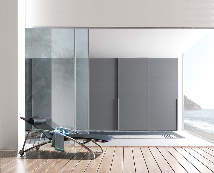 PRESOTTO | #Wardrobe With Liscia Sliding Doors In Grigio Piombo Color Wood  With Vertical Linear