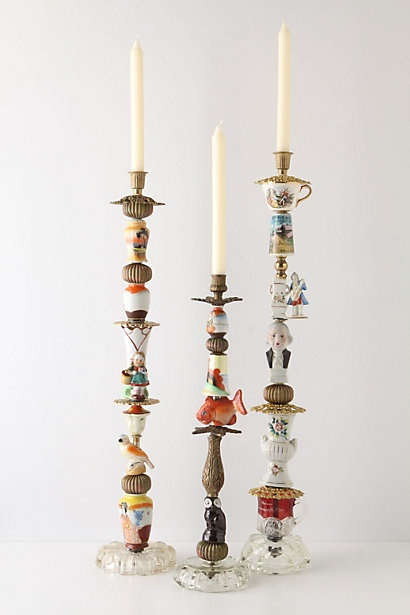 Trinket and Treasure Candlestick...an assortment of found knickknacks...fun!