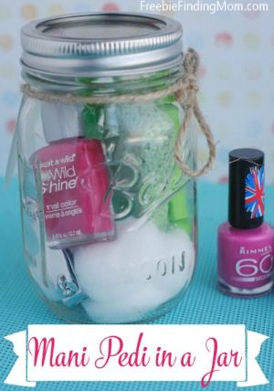 Homemade Mother's Day Gift Idea: Mani Pedi in a Jar - Forget the expensive day at the spa, give mom a luxurious mani pedi in the comfort of her home.