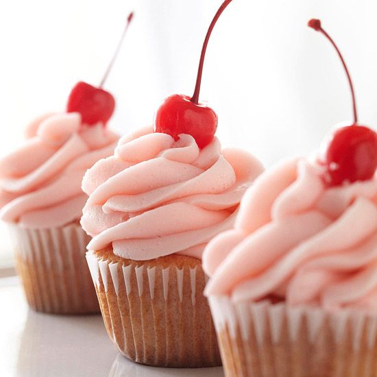 These Cherry-Almond Vanilla Cupcakes will be a hit! More cupcake recipes: http://www.bhg.com/recipes/desserts/cupcakes/our-best-cupcake-recipes/?socsrc=bhgpin082813cherryalmond=18
