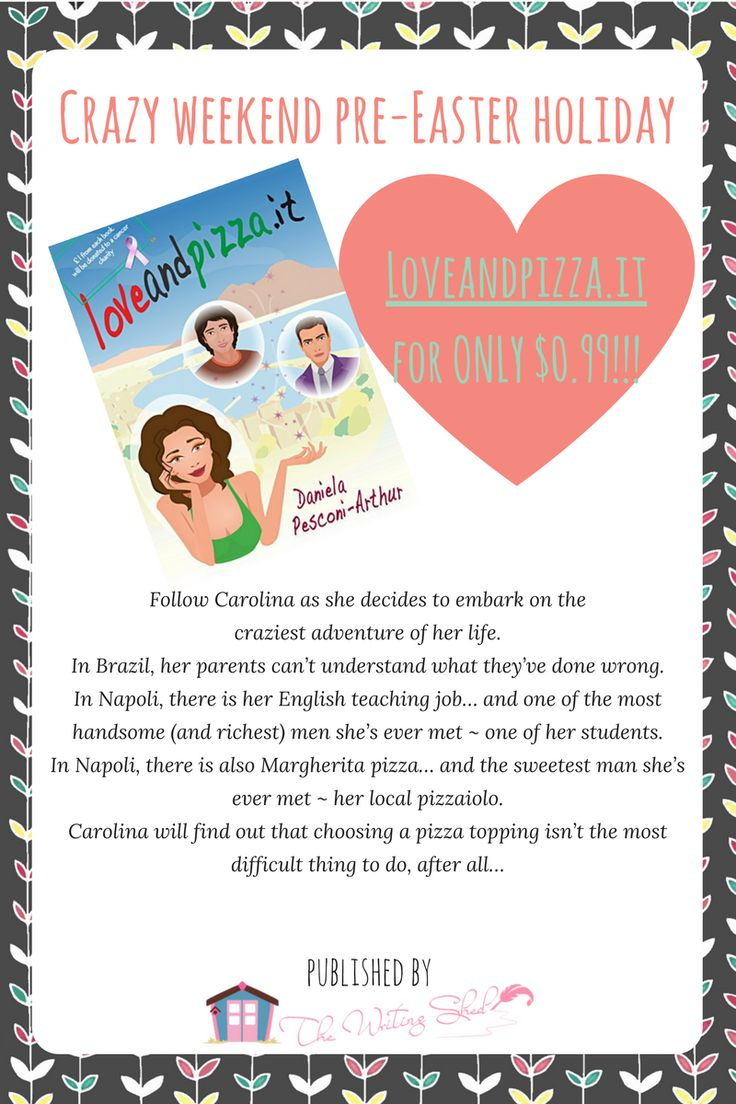"ONLY $0.99!!! Looking for something light and sweet to read during the Easter holiday? Pick ""Loveandpizza.it"" for $.99 THiS WEEKEND ONLY! (7th - 9th April) #thischickwrites #loveandpizzapuntoit #romanticcomedy #chicklit"