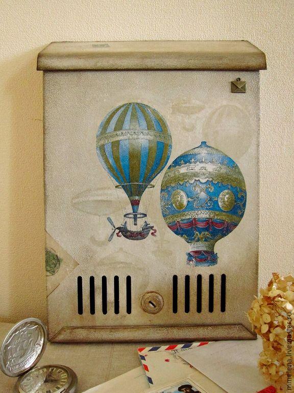 """Купить Почтовый ящик """"Воздушная почта, 2"""" - бежевый, темно-бежевый, коричневый, для писем"""