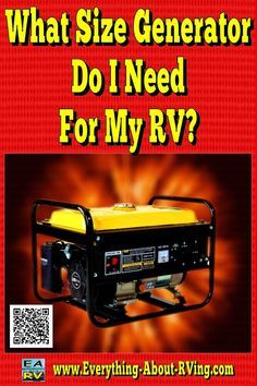 Here is our answer to: What Size Generator Do I Need For My RV? Let's start by evaluating the wattage usage of the appliances you.. Read More: http://www.everything-about-rving.com/what-size-generator-do-i-need-for-my-rv.html HAPPY RVING! #rving #rv #camp