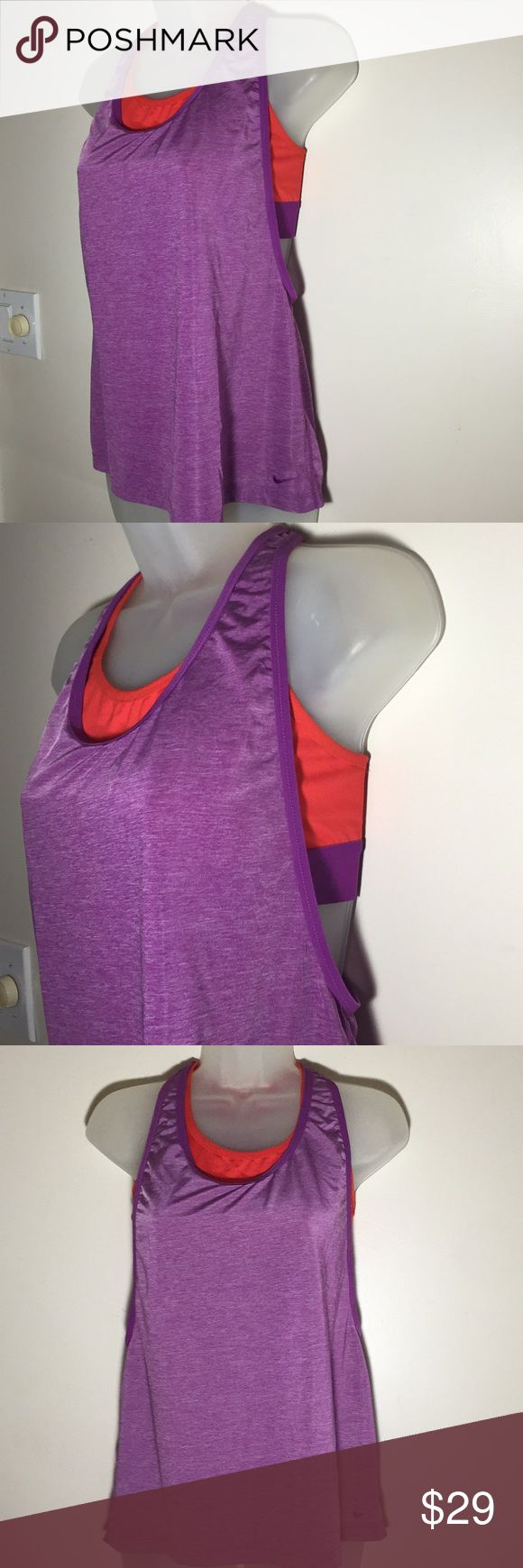 Nike tank top with sports bra purple orange M Nike like new exercise tank top with built in bra. Purple and orange. Find and stylish. No stains or holes. Make an offer or bundle with another item for 10 percent off of your entire order. Nike Tops Tank Tops