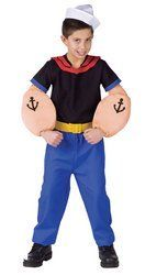 Popeye the Sailor Man Child Costume Medium (8-10) by Fun World. $12.99. This Popeye the Sailor Man Child Costume depicts the famous hero created by Elzie Crisler Segar in the 1930's, with his oversized muscular arms with anchor tattoos. Nemesis Bluto doesn't stand a chance with the physical brawn of this Popeye the Sailor Man Child Costume. A black shirt with blue trim, red sailor collar, blue pants, cinched with a yellow belt, and a white sailor hat complete the look. This...