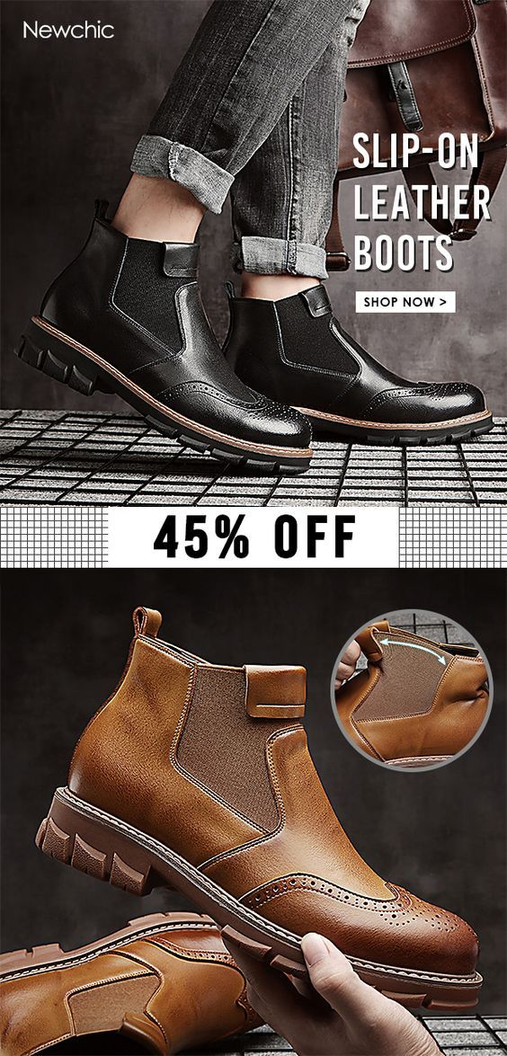 bc8a4729b58 45%off]Men Classic Brogue Carved Elastic Slip On Leather Chelsea ...