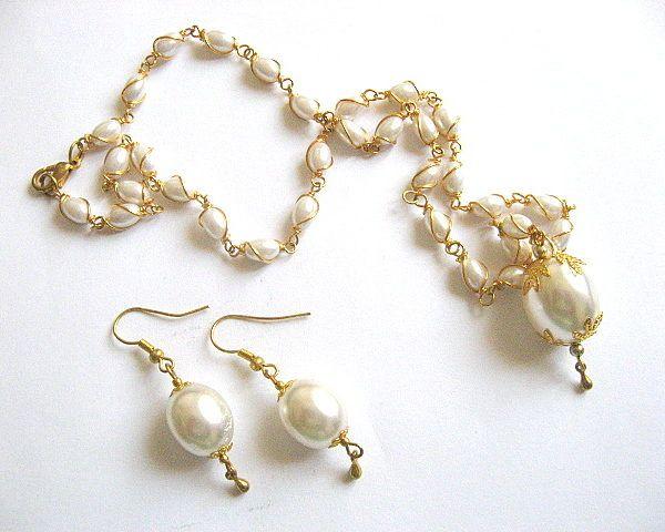 Set mireasa colier si cercei din perle / set bijuterii nunta / cadou mireasa