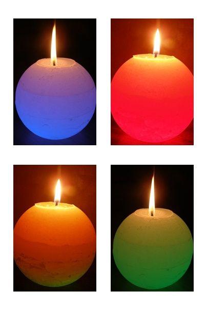 Świeca kula z diodą Led, zmienia kolor podczas palenia