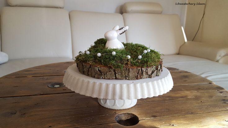 Ostertischdeko - Tortenplatte mit Fuß Beton  - ein Designerstück von Schwesterherz-Ideen bei DaWanda