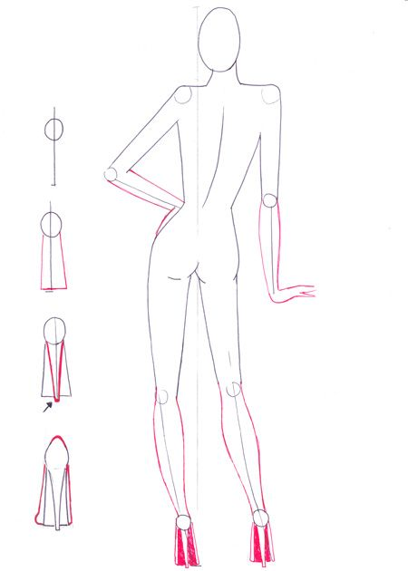 Fashion sketches tutorial on how to draw back view figure pose step by step