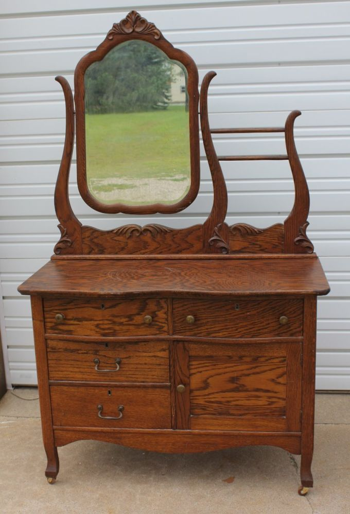 Antique Solid Oak Hotel Washstand Commode Dresser W
