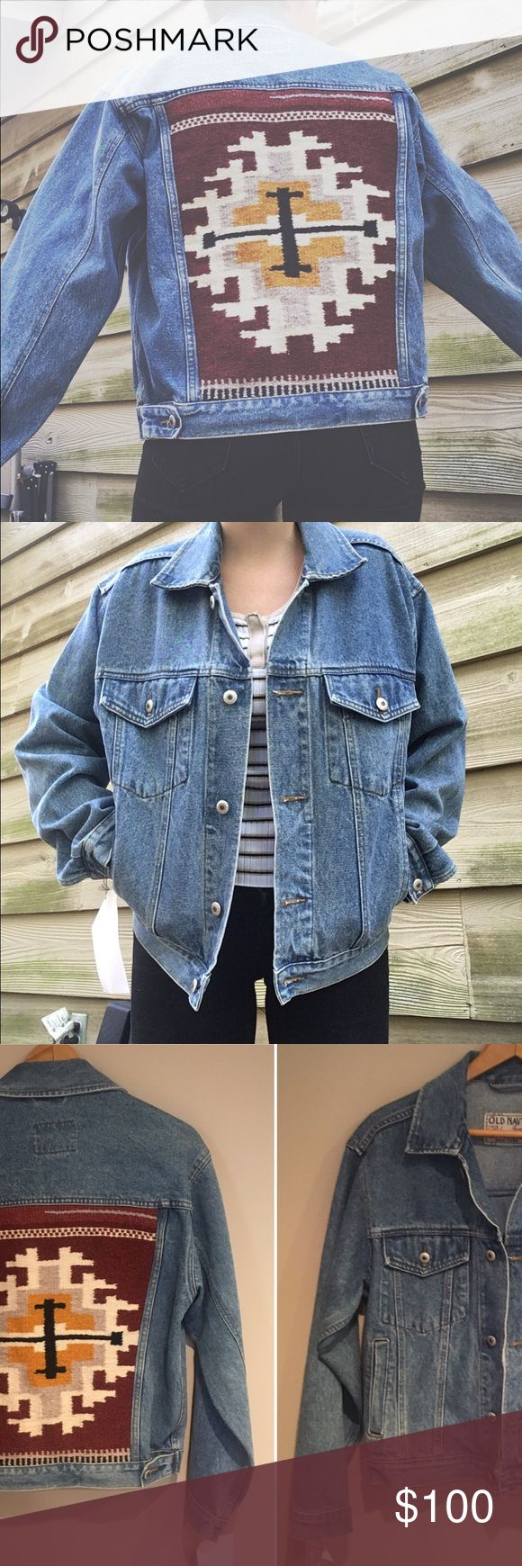 "❕LOWEST❕VINTAGE HAND-WOVEN SOUTHWEST DENIM JACKET VINTAGE REWORKED OLD NAVY DENIM JACKET WITH HAND-WOVEN SOUTHWEST INSET ✨incredible craftsmanship/artistry has gone into this reworked/hand-woven gem (artist B. Maggie Sherrill) • perfect thrifted condition (no signs of damage) ❣️PRICE FIRM UNLESS BUNDLED  MATERIAL: 100% cotton  BRAND: Old Navy Blue Jeans SF NY     SIZE: - W: 20"" (pit to pit) L: 23"" (top to bottom), 23.5"" sleeves 〰measurements taken laying flat  〰listed for style reference…"