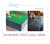Reversable lego play table! Lego mats on one side, chalkboard on the other. I would also put a base in the table for some added storage space.