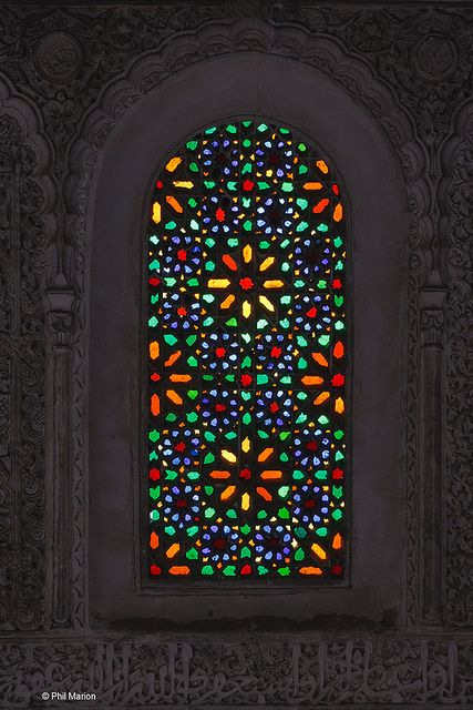 Stain glass window in Medersa Fes Morocco Stained
