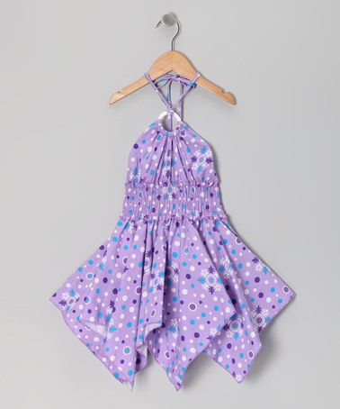 Take a look at this Lilac Floral Polka Dot Handkerchief Dress - Toddler & Girls by Lele for Kids on #zulily today!