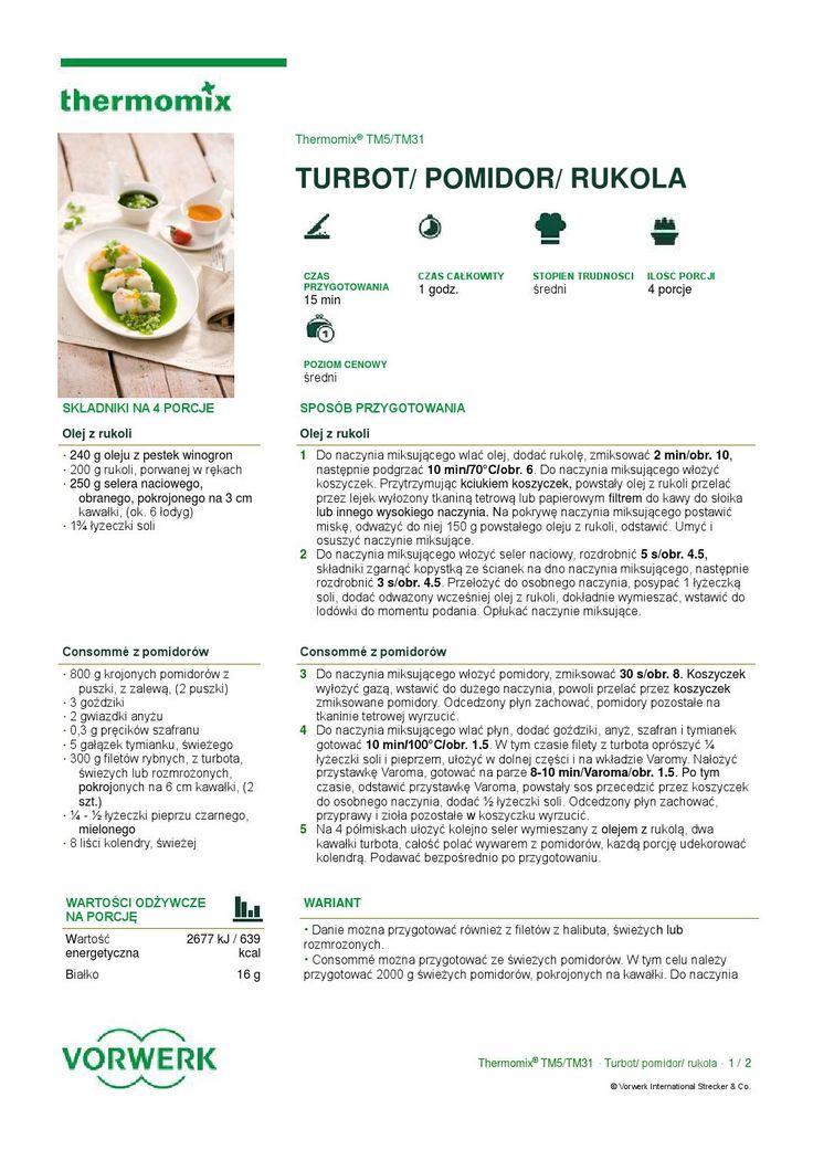 thermomix - Przepis amaro turbot pomidor rukola