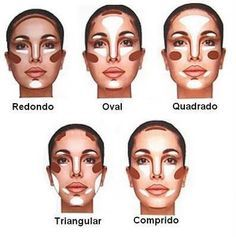 Valorize o seu rosto! Nas partes escuras, use corretivo, base ou pó mais escuros(usados para contorno) e nas claras, use iluminador!