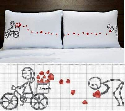 0 point de croix femme bicyclette semant des coeurs - cross stitch girl on ride and hearts