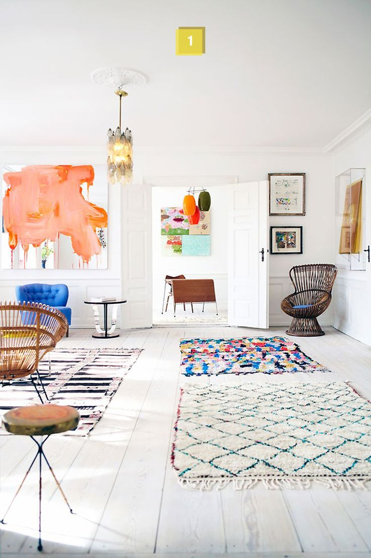 love the little bits of colour: Spaces, Living Rooms, Inspiration, Floors, Moroccan Rugs, Colors, Interiors Design, Apartment, White Wall