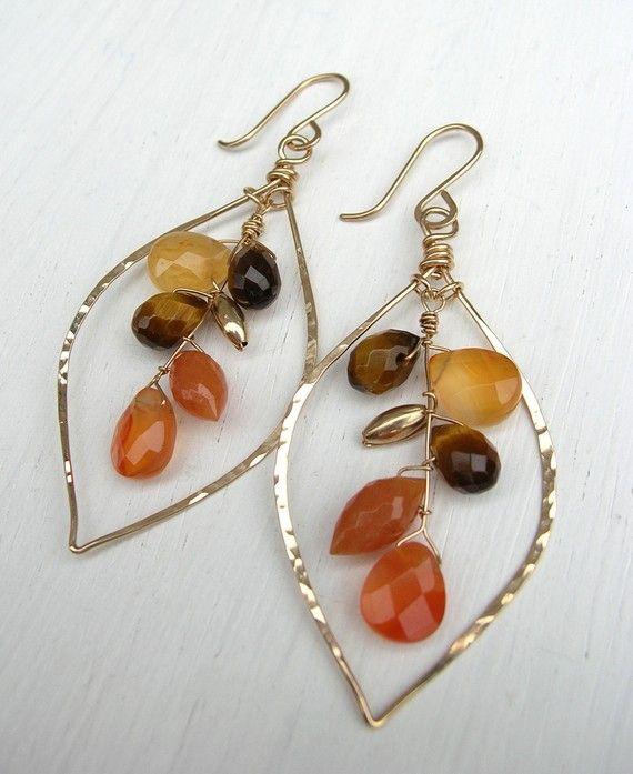 earrings - Aventrine, carnelian. Fall colors