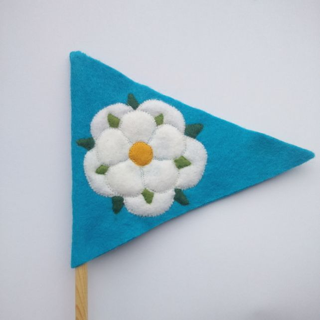 Felt Yorkshire flag by Amy Panda. Show your Yorkshire pride in a fabulously twee way with this little handmade felt flag, perfect for popping in a pen jar or poking into a plant pot!
