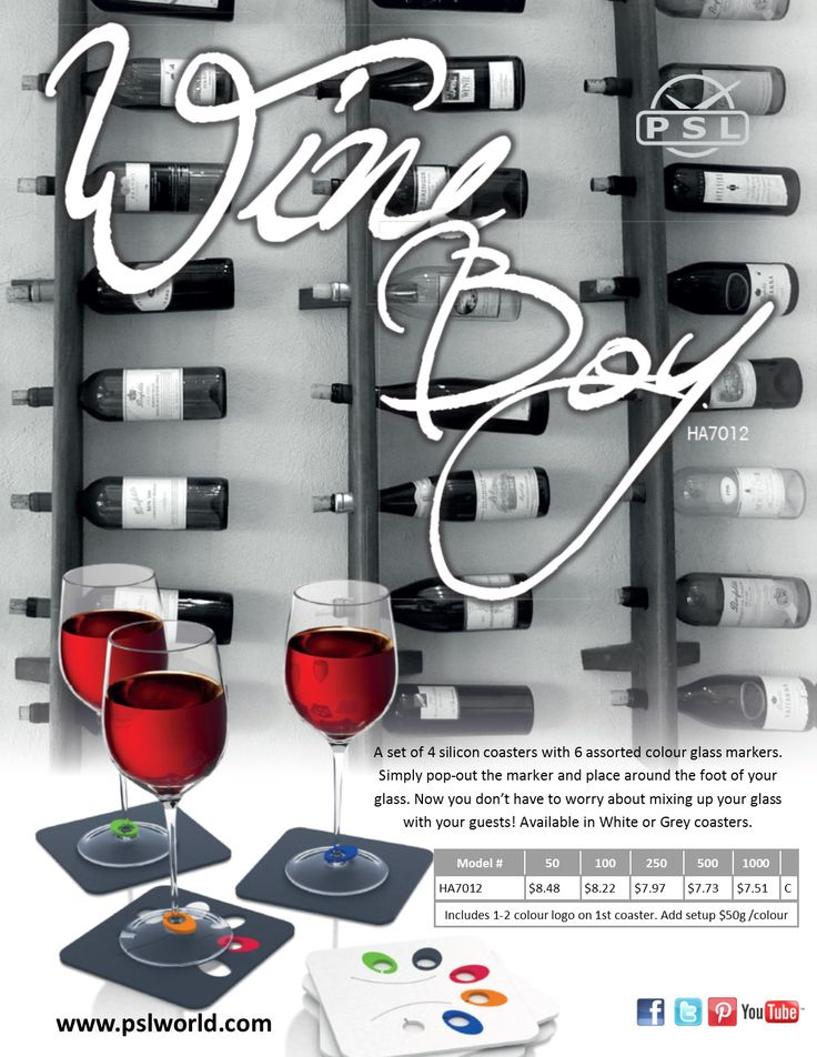 Stop having to guess which glass is yours at a party by using the WINE BOY. This 4 piece silicon coaster set includes 6 colourful glass charms that pop out of the 1st coaster, making it easy to keep track of your glass. www.pslworld.com