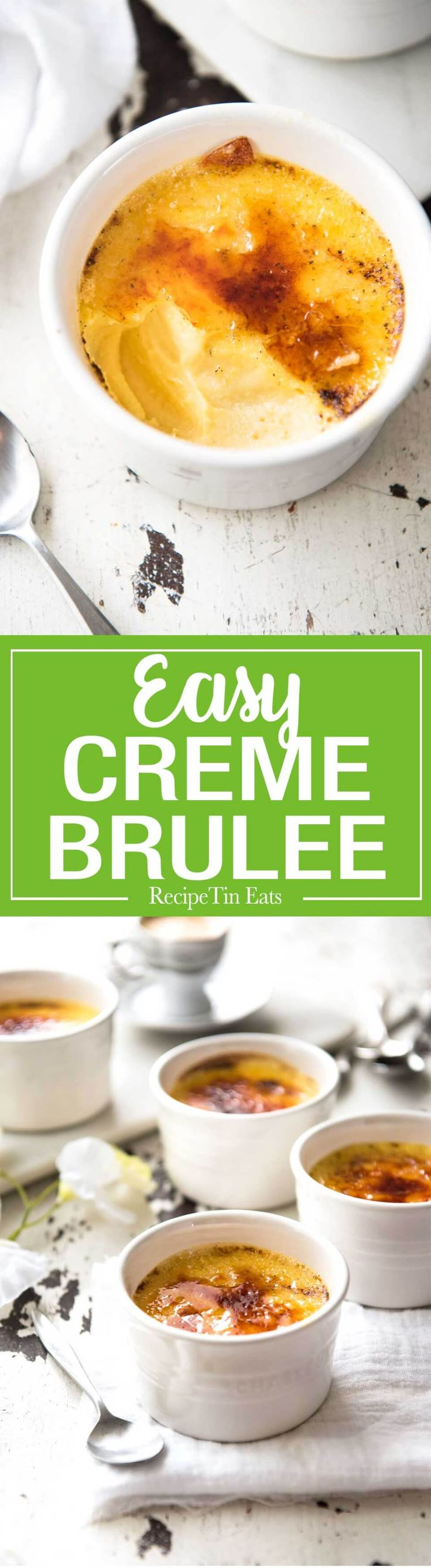 This rich, silly smooth Creme Brûlée is a chef recipe, is crazy easy and requires just cream, vanilla, eggs and sugar. www.recipetineats.com